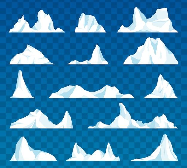 Góra lodowa lub dryfujący lodowiec arktyczny. zamarznięta góra i lodowaty, zamarznięty płyn i motyw północy.
