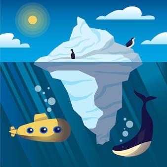Góra lodowa nad i pod wodą