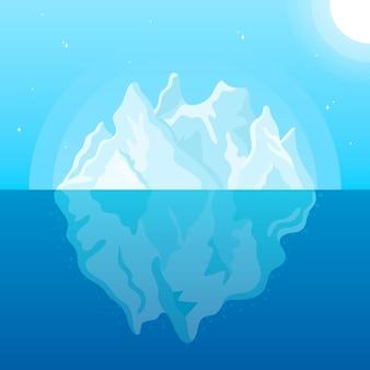 Góra lodowa płaska konstrukcja ilustracja ze słońcem