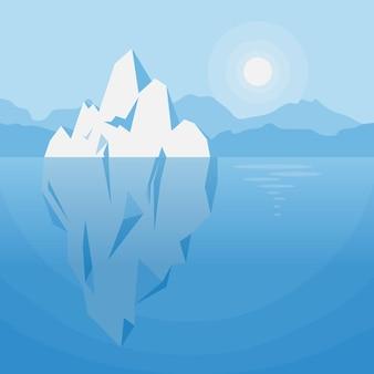 Góra lodowa pod wodą ilustracja