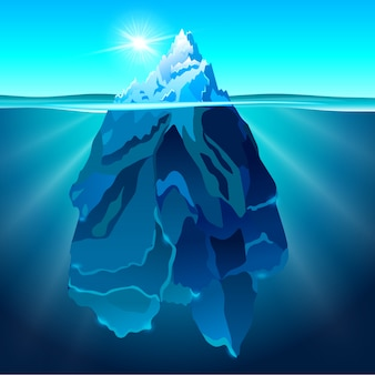 Góra lodowa w wodzie realistyczne tło
