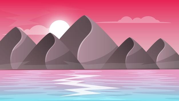 Góra, morze - kreskówka krajobraz.