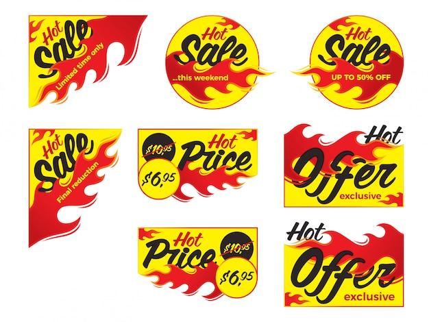 Gorąca cena sprzedaży oferta oferta wektor etykiety naklejki. formularz narożny wi