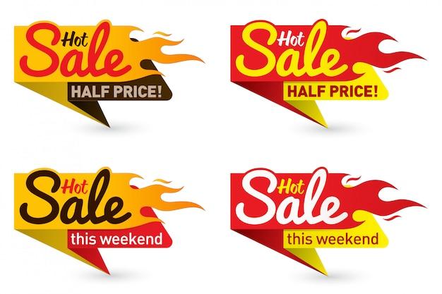 Gorąca cena sprzedaży oferta oferta wektor etykiety szablony naklejki projekty z płomieniem