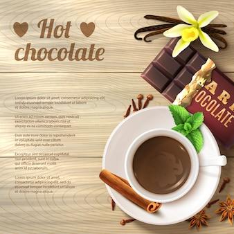 Gorąca czekolada w tle