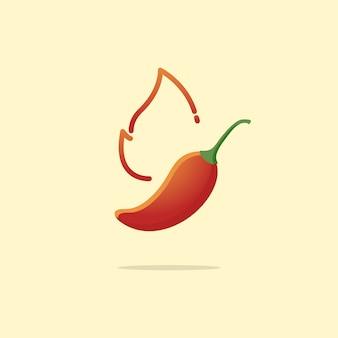 Gorąca i pikantna papryczka chili z ogniem
