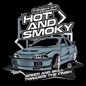 Gorąca i zadymiona, wektorowa ilustracja samochód