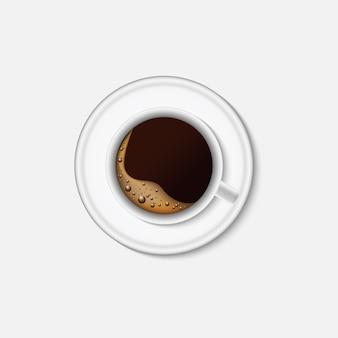 Gorąca kawa i projekt filiżanki kawy