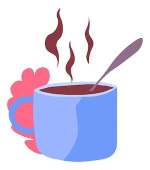 Gorąca kawa w filiżance ciepły napój smaczne napoje