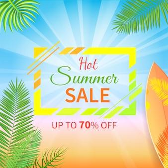 Gorąca letnia wyprzedaż do 70 procent zniżki na baner promocyjny