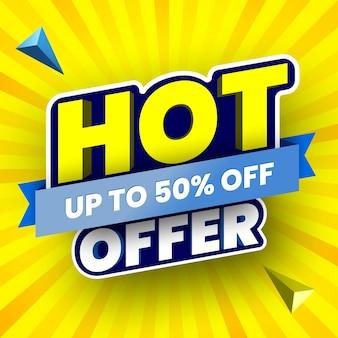 Gorąca oferta sprzedaży baner na żółtym tle w paski ilustracja wektorowa