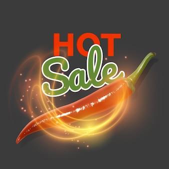 Gorąca oferta z płonącym ogniem i realistyczną czerwoną papryką chili. gorąca wyprzedaż.