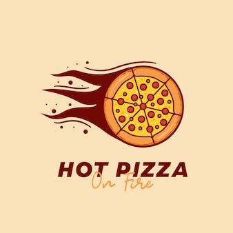 Gorąca pizza na ogniu logo restauracji pizzerii