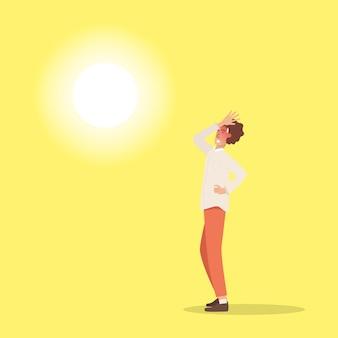 Gorąca pogoda. mężczyzna doznał poparzeń słonecznych w bardzo gorące letnie dni.