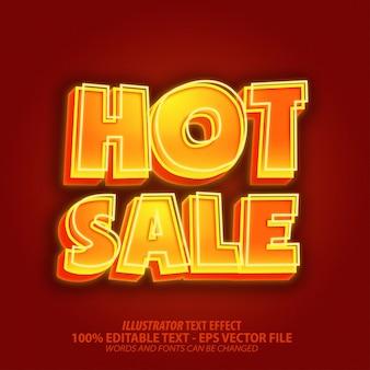 Gorąca sprzedaż, efekt edytowalnego tekstu w stylu neonowym błyszczącym 3d
