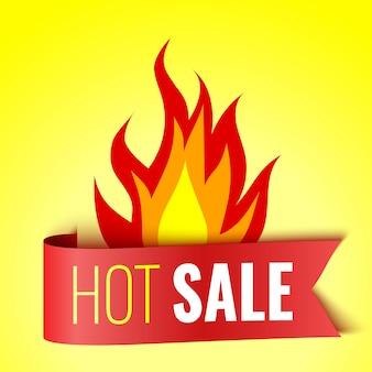 Gorąca sprzedaż transparent z ogniem i czerwoną etykietą ilustracji wektorowych