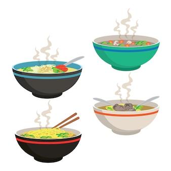 Gorąca zupa w chińskiej miseczce
