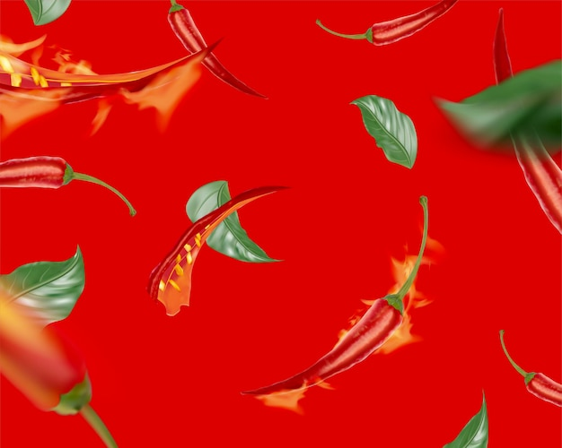 Gorące chili z płomieniem latającym na czerwonym tle, 3d