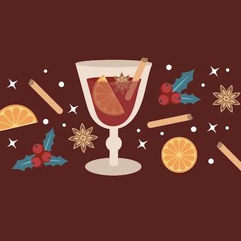 Gorące grzane wino w szklance. elementy i przyprawy do drinka na burgund