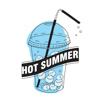 Gorące lato napis napisany na czarnej wstążce przed przezroczystym plastikowym kubkiem z nakrętką, słomką, świeżym napojem lub zimnym napojem i kostkami lodu wewnątrz na białym tle. ilustracja.