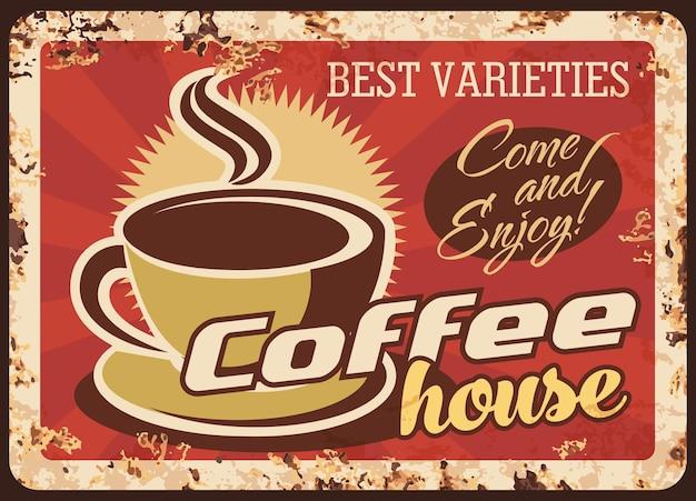 Gorące napoje coffeehouse zardzewiały talerz