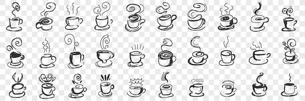 Gorące napoje w kubkach doodle zestaw. kolekcja ręcznie rysowane gorącej herbaty, kawy, kakao w kubki i filiżanki na śniadanie z latającą parą na białym tle.