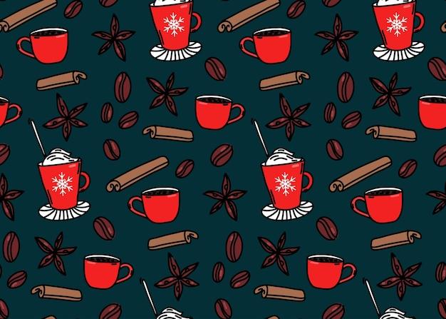 Gorące napoje wzór zimowy bezszwowe tło filiżanki do kawy cynamonowe gwiazdki anyżu i ziarna kawy