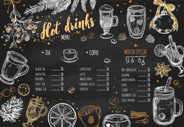 Gorące napoje zimowa tablica projekt menu