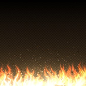 Gorące płomienie ognia z świecące iskry na białym tle szablon wektor. ilustracja płomienia ciepła spalania mocy