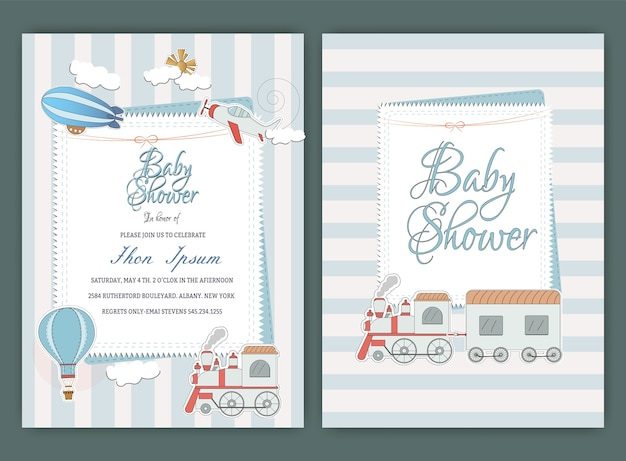 Gorące powietrze balon baby shower party zaproszenie szablon karty