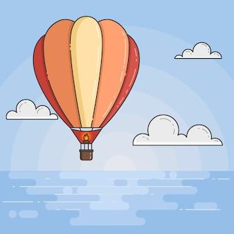 Gorące powietrze balon w niebieskim niebie z chmurami pod morzem. ilustracja wektorowa sztuki płaskiej linii. streszczenie panoramę. koncepcja dla biura podróży, motywacja, rozwój biznesu, karty z pozdrowieniami, baner, ulotki.
