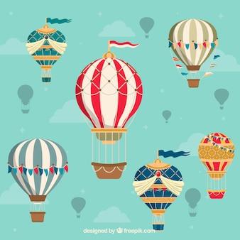 Gorące powietrze balonów tło w rocznika stylu
