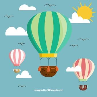 Gorące powietrze balonów tło z niebem w ręka rysującym stylu
