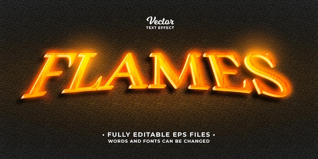 Gorące świecące płomienie ognia efekt tekstowy edytowalne słowa i czcionki eps cc można zmienić