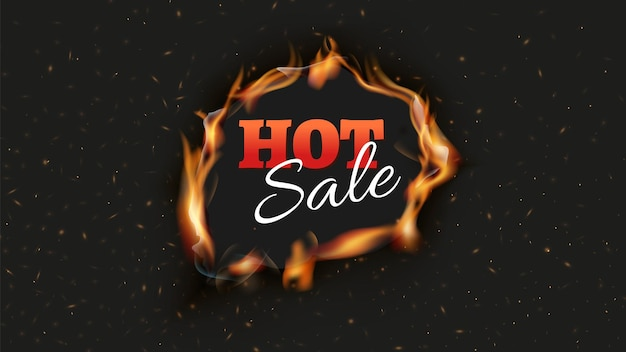 Gorący baner sprzedaży. spalić reklamy rabatowe czarne tło. ogień dziura z językami płomienia i iskry szablon projektu plakatu. ilustracja wektorowa realistyczny płomień. rabat i oferta reklamowa