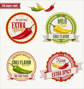 Gorący chili pieprze wektorowi