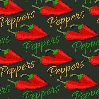 Gorący chili pieprzu bezszwowy wzór na ciemnym tle. pikantne tło dla projektu opakowania nasion lub dekoracji kuchni.