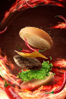 Gorący chłodno hamburger latający w powietrzu z płonącym ogniem w ilustracji 3d