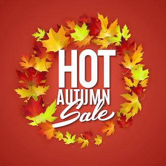 Gorący jesień banner reklamowy sprzedaży, detal, rabat