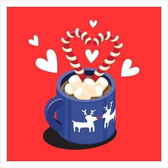 Gorący napój czekoladowy w niebieskim kubku z uroczym świątecznym wzorem.