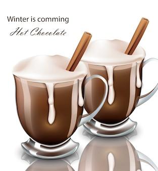 Gorący napój czekoladowy w okularach realistyczny. bita śmietana nalewania napoju