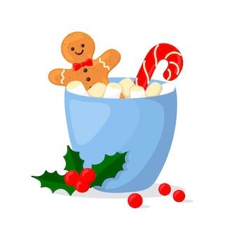 Gorący napój świąteczny z piankami i ciasteczkami. ilustracja w stylu kreskówki.