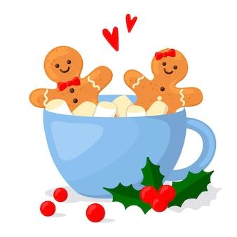 Gorący napój świąteczny z piankami i herbatnikami. ilustracja w stylu kreskówki.