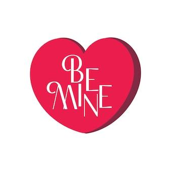 """Gorący różowy kształt serca z napisem """"be mine"""" w bezpłatnych ilustracjach wektorowych premium"""