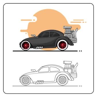 Gorący samochód wyścigowy łatwo edytowalny
