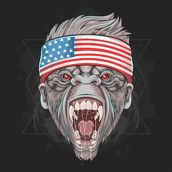 Gorilla america us flag vector element