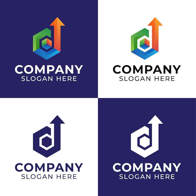 Górne logo ze strzałką w kształcie litery d z sześciokątnymi kształtami w kształcie kostki cyfrowe logo inspiracje dla pakietu dostawy lub logistyki