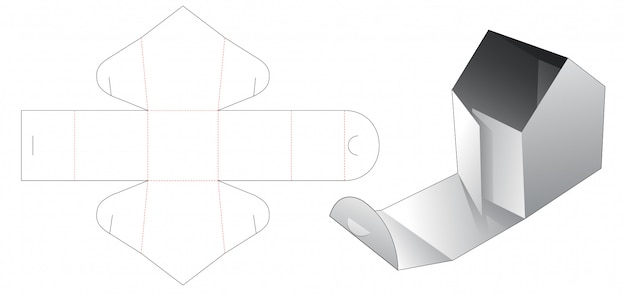 Górne pudełko w kształcie domu z otworem do wycinania