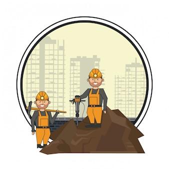 Górnicy pracownicy z wiertłem i kilofem