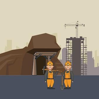 Górnicza jaskinia i robotnicy z narzędziami